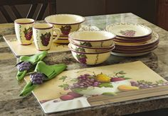 grapevine dishes   16 Piece Ceramic Dinnerware Set with Grape Design from Collections Etc ...