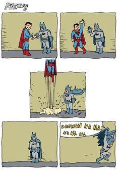 Batman makes up for his lack of flight