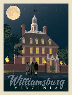 Colonial Williamsburg Reproduction House Plans Elegant Williamsburg Va at Night Voyage Usa, Vintage Travel Posters, Retro Posters, Colonial Williamsburg, Luxor Egypt, British Library, Travel Usa, Illustrations Posters, House Plans