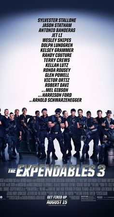 Directed by Patrick Hughes.  With Sylvester Stallone, Jason Statham, Jet Li, Antonio Banderas. Barney augments his team with new blood for a personal battle: to take down Conrad Stonebanks, the Expendables co-founder and notorious arms trader who is hell bent on wiping out Barney and every single one of his associates.