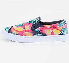 canvas floral print sneakers ,ladies sneaker with flower desing ,flat shoes ,Colourful sneakers ,sneaker tropical desing  ,women sneakers
