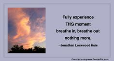 Fully experience THIS moment -  breathe in, breathe out - nothing more.  - Jonathan Lockwood Huie