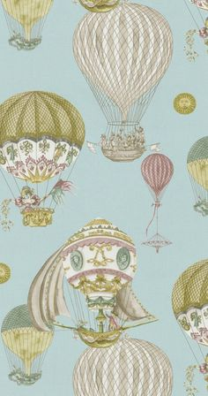 Beautiful print.  Great for a nursery or accent pillows.  The hot air balloons could remind the household to keep soaring