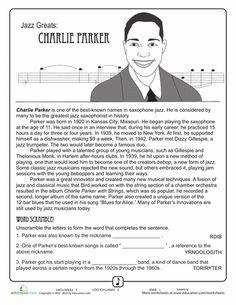 Worksheets: Jazz Greats: Charlie Parker