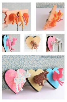 For little girls room DIY: Turn cheap plastic animals into super cute crafts! Learn how to make a magnetic necklace holder, ring holder, place card holdr, magnetic photo holder and fridge magnets. I just like it for the hippo and the moose Cute Crafts, Diy And Crafts, Craft Projects, Crafts For Kids, Arts And Crafts, Craft Tutorials, Beach Crafts, Summer Crafts, Paper Crafts