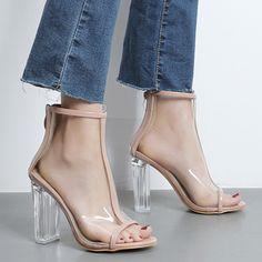 Senhoras marca de Verão sapatos de salto alto mulher sandálias Roma mulheres bomba transparente com zíper de cristal grosso com botas femininas sensuais