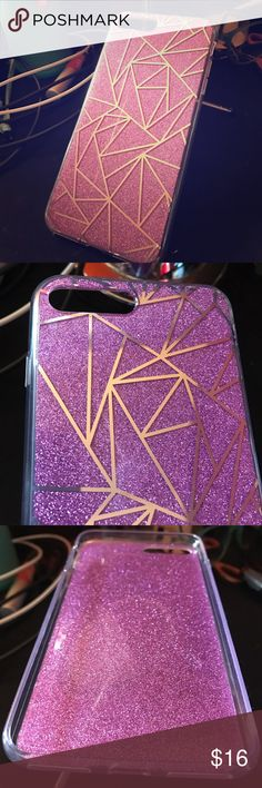 Cute purple glitter themed iPhone 7 plus case Super cute and is full protection! It's silicone and gel so it supports your phone completely while feeling super sleek and nice!  It's a purple glitter with shiny geometric silver designs also brand new Accessories Phone Cases