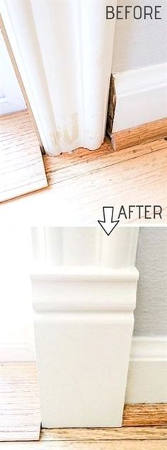 DIY Door Trim is an easy way to upgrade your home! A list of some of the best home remodeling ideas on a budget. Easy DIY, cheap and quick updates for your kitchen, living room, bedrooms and bathrooms to help sell your house! Lots of before and after photos to get you inspired! Fixer Upper, here we come. Listotic.com  #RemodelingGuide