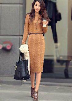 Braided Midi Sweater Dress