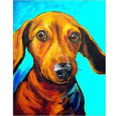 Dachshund Dog Art 8x10 Print of Original Painting by Dottie Dracos, Red Doxie with Helicoptor Ear #dachshund Dog Art 8x10 Print of Original Painting by Dottie Dracos, Red Doxie with Helicoptor Ears