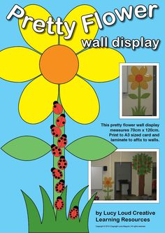 htThis pretty flower wall display measures 70cm x 120cm. Print to A3 sized card and laminate to affix to walls.