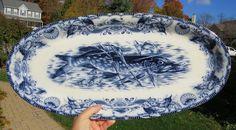 "Impressive Antique Wedgwood Flow Mulberry Fish Platter Northern Pike England 23"" #FishPlatter #WedgwoodCo"