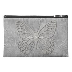Silver Grey Butterfly Silk Textured Travel Accessories Bag, personalize it, buy now: $39.10