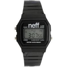 Neff Flava Black Digital Watch (5.480 HUF) ❤ liked on Polyvore featuring jewelry, watches, accessories, orologi, chain watches, digital alarm watch, military jewelry, neff and alarm watches