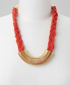Gold & Coral Braid Bib Necklace