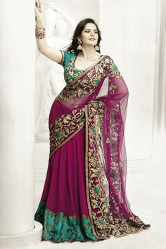 Magenta Color Lehenga Saree