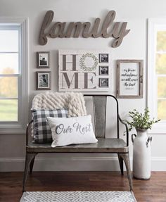 Cute farmhouse style decor and signs that complete this cozy seating.