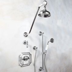 Vintage Pressure Balance Shower System with Wall Shower Head and Hand Shower- Lever Handle