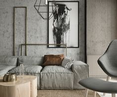 small contemporary gray apartment interior design 2