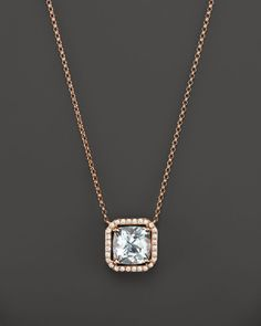 Aquamarine and Diamond Pendant Necklace in 14K Rose Gold, 17""