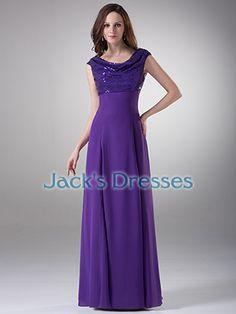 [US$116.99] Spring Long Floor Length Chiffon Cap Sleeve Modest Evening Gowns