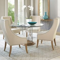 Small Round Gl Dining Table With Four High Counter White Leather Chairs In Silver Oak
