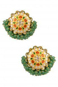 Gold Finish Red Meena Jadtar And Green Beads Gucha Earrings #perniaspopupshop…
