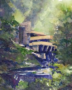 watercolor painting Summer at Fallingwater Frank by bleuherron