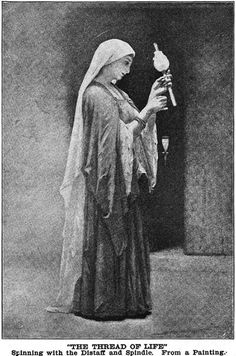 Romanticised image of a woman with her distaff
