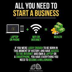 First Generation Millionaires Entrepreneur Motivation, Business Motivation, Entrepreneur Quotes, Business Entrepreneur, Business Quotes, Business Marketing, Online Business, Business Laptop, Motivation Success