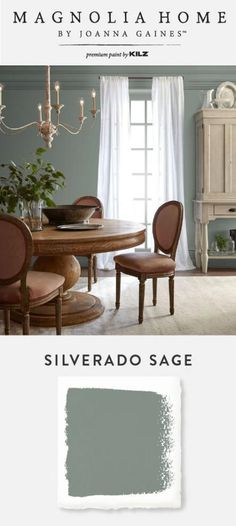 Embrace the earthy olive tone of Silverado Sage, from the Magnolia Home by Joanna Gaines™ Paint collection. This classic hue pairs well with warm wood and neutral beige accents to create an elegant st Green Dining Room, Dining Room Paint Colors, Room Wall Colors, Living Room Color Schemes, Living Room Green, Dining Room Walls, Paint Colors For Home, My Living Room, Warm Dining Room