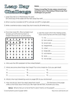 Here is a fun scavenger-hunt type activity for your upper elementary/middle school students on Leap Day. Students will need to use their math, rese...
