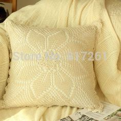 Find More Cushion Cover Information about 2015 new arrival IKEA fashion cotton crochet pillow case for home decor Beige 40 45cm square case towel for sofa bed decor,High Quality towels direct,China towel fun Suppliers, Cheap towel making from Tony's World Unique Handmade Houseware Store on Aliexpress.com