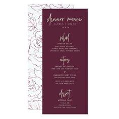 Wedding Dinner Menu Card - floral style flower flowers stylish diy personalize