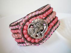 Pink Jade Beaded Leather Cuff Bracelet Cherry by RopesofPearls, $86.00