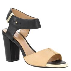 Renata Black & Butter Heel Renata's mid-size chunky heel puts plenty of spring in your step. The black-and-butter leather combination is a new way to wear color-blocked neutrals and Renata pairs perfectly with a sleek sheath dress, or boyfriend jeans for a fun, fashionable look