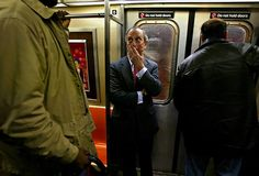 Mayor Michael R. Bloomberg taking the subway to City Hall in 2003.  New York Times