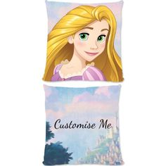 """This Fantastic Disney Princess Rapunzel official cushion is fully licensed and is perfect for any dedicated Disney fan. Your personalisation is merged with the stylish design and is printed onto the 18"""" x 18"""" (45cm x 45cm) brushed poly fibre cushion using the latest sublimation technology. The edge to edge design is printed on both sides and is finished with an invisible zip."""