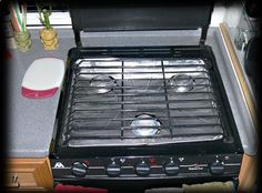 One Pinners RV stove-top tip - At the Dollar Store buy a set of heavy foil oven liners. It takes a bit of time to get the burner holes right. The easiest way to do the holes was to place the liner on the stove and mark the center of the burner. Then punch a hole in the center and work out with a sort of star pattern, folding the foil under till the fit is to your liking. Replace when needed.