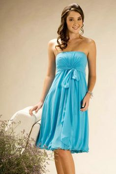 80f700690b4a3 Strapless Ribbon Knee Length Cheap Blue Maternity Bridesmaid Dress AU Cheap  Blue Dresses, 15 Dresses
