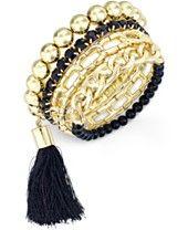 Thalia Sodi Gold-Tone Link and Tassel Stretch Bracelet, Only at Macy's