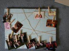 Here's just a photo board. I used twine that was glued and stapled to the back to act as a picture line to hang photos.