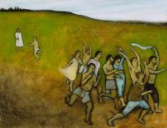 Fine art archival giclee print of an original oil painting, Ten Lepers Healed, by contemporary folk artist Brian Kershisnik.