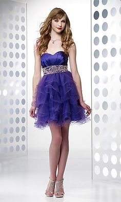 cocktail party look - purple layered dress with soft hair and ...