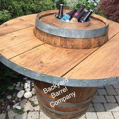 Wine Barrel with Edged Overlay and Ice Bucket Whiskey Barrel Table, Wine Barrel Bar, Bourbon Barrel, Wine Barrel Table Diy, Wine Barrel Garden, Wine Barrel Crafts, Barrel Fire Pit, Barrel Projects, Wine Barrel Furniture