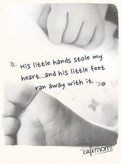 His little hands ...