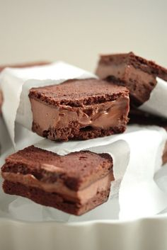 Double Chocolate Brownie Ice Cream Sandwiches www.countrycleaver.com