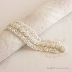 Bridal Pearls and Crystals Bracelet in White Opal and Cream