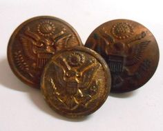 VINTAGE 3 pc metal Military buttons Horstmann City Button #vintage #military #buttons #AmericanEagle #shield #emblem #sewing #coat #jacket #uniform