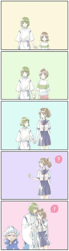 Anime Ai, Kawaii Anime, Manga Anime, Studio Ghibli Films, Art Studio Ghibli, Totoro, Chihiro Y Haku, Howl And Sophie, Girls Anime